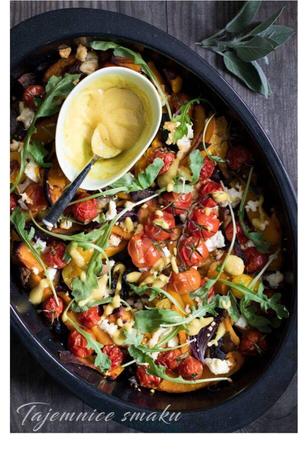 zapiekanka pieczona dynia feta pieczarki pomidorki rukola upiecz to!